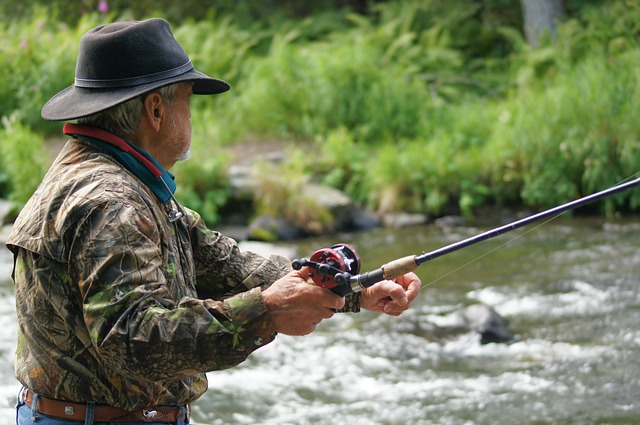 an angler pulling the fishing rod